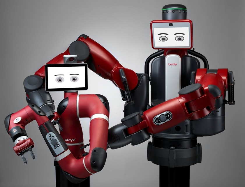 Sawyer and Baxter are two collaborative robots developed by US company Rethink Robotics to help automate the manufacturing process (Credit: Jeff Green/Rethink Robotics)
