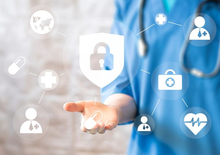 Doctor,Pushing,Button,Locked,Shield,Virus,Security,Virtual,Healthcare,Network